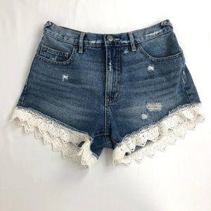 Free People Jean Cut Shorts Floral Knit 26W